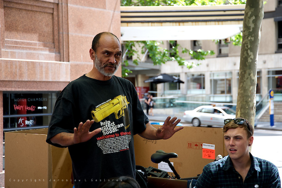 The Downing Centre, Occupy Sydney successfully challenged the definition of the term 'Camping' used by NSW Police in their attempts to evict protestors from Martin Place. High profile criminal barrister Peter Lavac argued that the arrest of Lance Priestley was unlawful given the fact that he was not occupying a tent or similar structure when arrested.