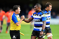 Semesa Rokoduguni of Bath Rugby speaks with a match official after the match. Aviva Premiership match, between Bath Rugby and Newcastle Falcons on September 10, 2016 at the Recreation Ground in Bath, England. Photo by: Patrick Khachfe / Onside Images