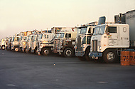 Kansas City, Missouri, September 9, 1978. Typical Trucks parked at a Truck Stop.