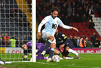 Blackburn Rovers' Bradley Dack spins round to score his sides 2nd goal<br /> <br /> Photographer Dave Howarth/CameraSport<br /> <br /> The EFL Sky Bet Championship - Blackburn Rovers v Derby County -Tuesday 9th April 2019 - Ewood Park - Blackburn<br /> <br /> World Copyright &copy; 2019 CameraSport. All rights reserved. 43 Linden Ave. Countesthorpe. Leicester. England. LE8 5PG - Tel: +44 (0) 116 277 4147 - admin@camerasport.com - www.camerasport.com