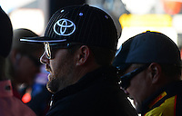 Oct. 27, 2012; Las Vegas, NV, USA: NHRA top fuel driver Shawn Langdon during qualifying for the Big O Tires Nationals at The Strip in Las Vegas. Mandatory Credit: Mark J. Rebilas-