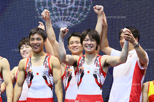 Japan team group (JPN), OCTOBER 28, 2015 - Artistic Gymnastics : 2015 World Artistic Gymnastics Championships Men's Team Medal Ceremony at The SSE Hydro Arena, Glasgow, Great Britain. (Photo by YUTAKA/AFLO SPORT)