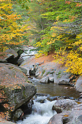 Sculptured Rocks Natural Area in Groton, New Hampshire USA during the autumn months. This gorge was shaped during the Great Ice Age