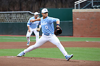 CHAPEL HILL, NC - FEBRUARY 19: Michael Oh #0 of the University of North Carolina pitches during a game between High Point and North Carolina at Boshamer Stadium on February 19, 2020 in Chapel Hill, North Carolina.