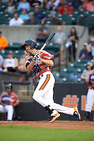 Aberdeen Ironbirds outfielder Glynn Davis (13) at bat during a game against the Tri-City ValleyCats on August 6, 2015 at Ripken Stadium in Aberdeen, Maryland.  Tri-City defeated Aberdeen 5-0 in a combined no-hitter.  (Mike Janes/Four Seam Images)