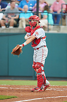 Greeneville Reds catcher Hunter Oliver (28) gives signs to his defense during the game against the Pulaski Yankees at Calfee Park on June 23, 2018 in Pulaski, Virginia. The Reds defeated the Yankees 6-5.  (Brian Westerholt/Four Seam Images)