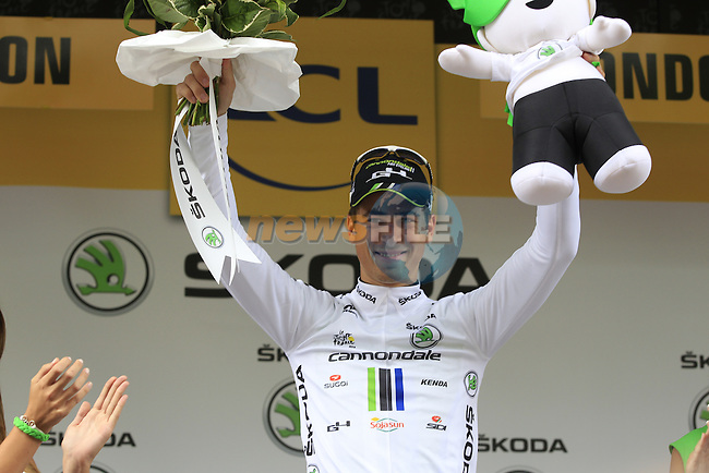 Peter Sagan (SVK) also retains the young rider's White Jersey after Stage 3 of the 2014 Tour de France running 155km from Cambridge to London. 7th July 2014.<br /> Picture: Eoin Clarke www.newsfile.ie