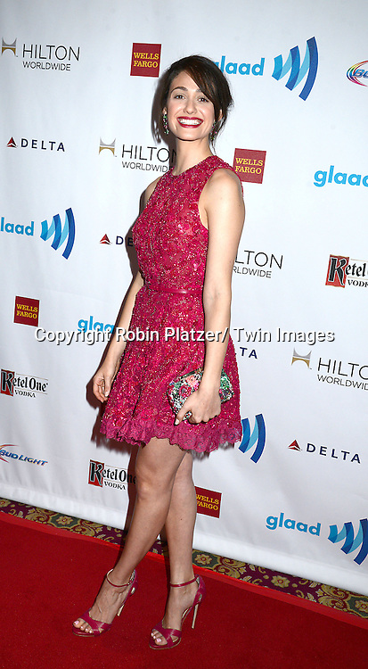 Emmy Rossum attends the 25th Annual GLAAD Media Awards at the Waldorf Astoria Hotel in New York City, NY on May 3, 2014.
