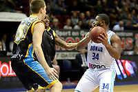 GRONINGEN - Basketbal, Donar - Den Helder Suns, Martiniplaza, Dutch Basketbal League,  seizoen 2018-2019, 27-11-2018,  Donar speler Lance Jeter met Den Helder speler Dyon Halman