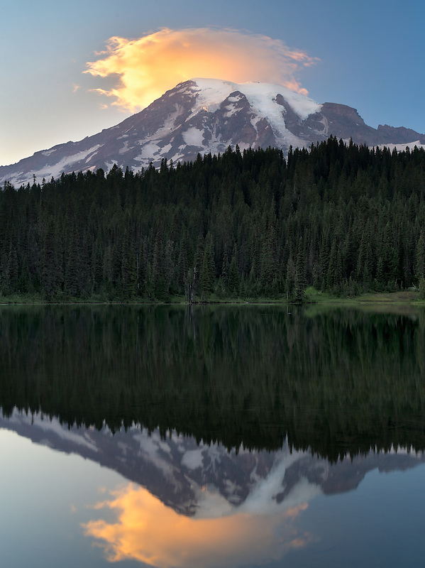 Reflection Lake with sunset on Mt. Rainier. Mt. Rainier National Park, Washington