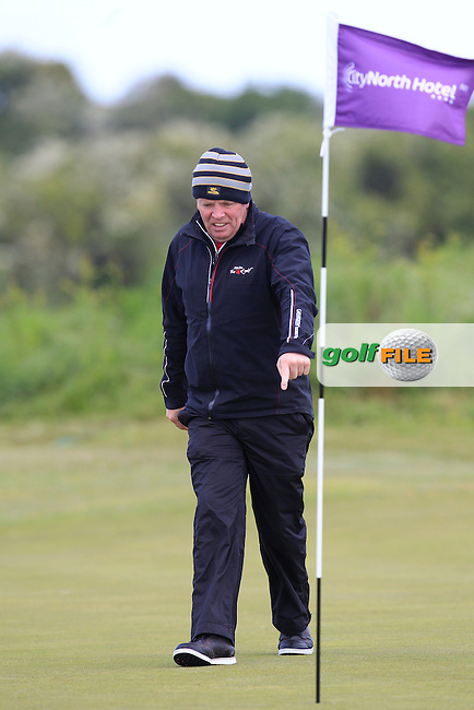 Stuart Bleakley (Shandon Park) on the 9th green during Round 2 of the East of Ireland Amateur Open Championship at Co. Louth Golf Club, Baltray on Sunday 30th May 2015.<br /> Picture:  Thos Caffrey / www.golffile.ie