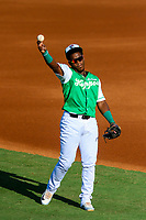 Jackson Generals second baseman Domingo Leyba (3) warms up in the outfield prior to a Southern League game against the Biloxi Shuckers on July 27, 2018 at The Ballpark at Jackson in Jackson, Tennessee. Biloxi defeated Jackson 15-7. (Brad Krause/Four Seam Images)