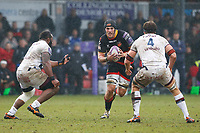 James Sheekey of Dragons is challenged by Peni Ravai and Luke Jones of Bordeaux Begles during the European Challenge Cup match between Dragons and Bordeaux Begles at Rodney Parade, Newport, Wales, UK. 20 January 2018
