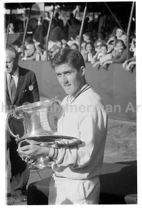 Australian Ken Rosewall wins 1956 U.S. National Championship. Forest Hills, NY. Photograph by John G. ZImmerman.