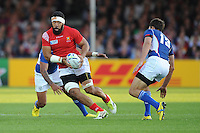 Viliami Ma'afu of Tonga keeps an eye on Danie Van Wyk of Namibia during Match 20 of the Rugby World Cup 2015 between Tonga and Namibia - 29/09/2015 - Sandy Park, Exeter<br /> Mandatory Credit: Rob Munro/Stewart Communications