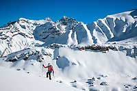 Ski touring in Kiental, Switzerland on a morning with fresh snow