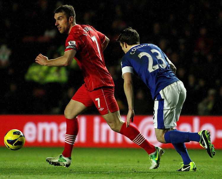 Southampton's Rickie Lambert on the attack against Everton's Seamus Coleman..- Credit - CameraSport - James Marsh - ..Football - Barclays Premiership - Southampton v Everton - Monday 21st January 2013 - St Mary's - Southampton..