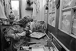 Mabel Pakenham-Walsh 1975. Artist wood carver and painter at home in SE England in her wood carving studio.