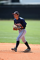 Atlanta Braves Omar Obregon (4) during a minor league spring training game against the Houston Astros on March 29, 2015 at the Osceola County Stadium Complex in Kissimmee, Florida.  (Mike Janes/Four Seam Images)