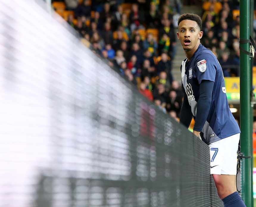 Preston North End's Callum Robinson in action during todays match  <br /> <br /> Photographer David Shipman/CameraSport<br /> <br /> The EFL Sky Bet Championship - Norwich City v Preston North End - Saturday 22nd October 2016 - Carrow Road - Norwich<br /> <br /> World Copyright &copy; 2016 CameraSport. All rights reserved. 43 Linden Ave. Countesthorpe. Leicester. England. LE8 5PG - Tel: +44 (0) 116 277 4147 - admin@camerasport.com - www.camerasport.com