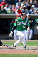 Dayton Dragons outfielder Jesse Winker #23 during a game against the Bowling Green Hot Rods on April 21, 2013 at Fifth Third Field in Dayton, Ohio.  Bowling Green defeated Dayton 7-5.  (Mike Janes/Four Seam Images)