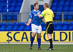 St Johnstone v Dunfermline....25.02.12   SPL.Frazer Wright complains to ref Brian Colvin after Dunfermline score.Picture by Graeme Hart..Copyright Perthshire Picture Agency.Tel: 01738 623350  Mobile: 07990 594431