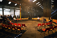 "Pictured: The four main characters rehearsing<br /> Re: Press rehearsal of ""We'Re Still Here"", a play created by Rachel Trezise, Common Wealth and the National Theatre Wales about steelworkers, which will be performed in Byass Works, a disused industrial unit, in Port Talbot, south Wales, UK."