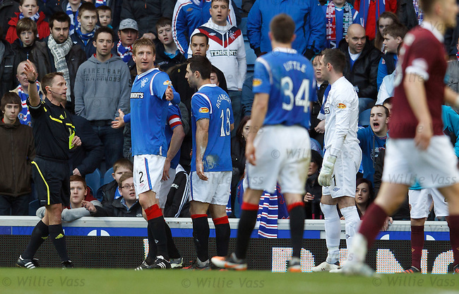 Dorin Goian amazed as referee Crawford Allan awards a penalty to Hearts and yellow cards him