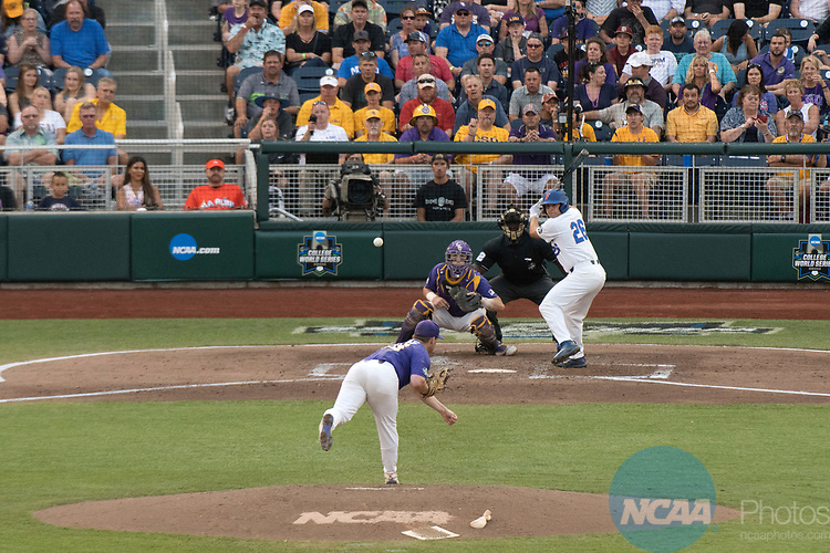 OMAHA, NE - JUNE 27: Jared Poche' (16) of Louisiana State University delivers a pitch during game two of the Division I Men's Baseball Championship held at TD Ameritrade Park on June 27, 2017 in Omaha, Nebraska. The University of Florida defeated Louisiana State University 6-1 in game two of the best of three series. (Photo by Corey Solotorovski/NCAA Photos via Getty Images)
