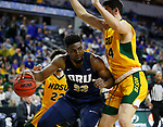 SIOUX FALLS, SD - MARCH 8: Emmanuel Nzekwesi #23 of the Oral Roberts Golden Eagles works his way into the defense of Tyler Witz #44 of the North Dakota State Bison at the 2020 Summit League Basketball Championship in Sioux Falls, SD. (Photo by Richard Carlson/Inertia)