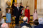 (L-R) Princess Leonor of Spain, King Felipe VI of Spain, Queen Letizia of Spain and Princess Sofia of Spain attend the Order of Golden Fleece (Toison de Oro), ceremony at the Royal Palace. January 30,2018. (ALTERPHOTOS/Pool)