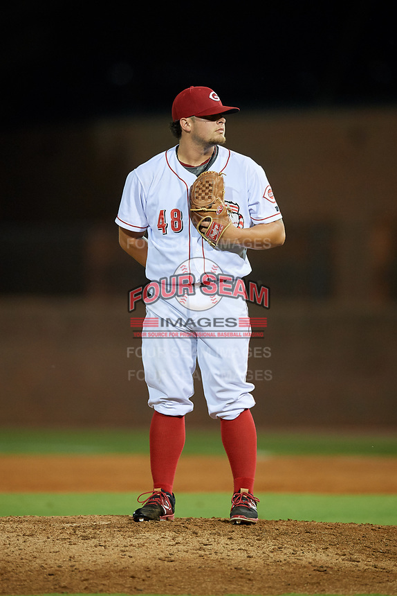 Greeneville Reds relief pitcher Connor Bennett (48) looks in for the sign during a game against the Pulaski Yankees on July 27, 2018 at Pioneer Park in Tusculum, Tennessee.  Greeneville defeated Pulaski 3-2.  (Mike Janes/Four Seam Images)
