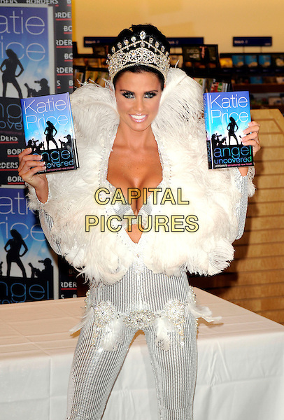 "JORDAN - KATIE PRICE .Launches her new book ""Angel Uncovered"" at Borders book store, London, England. .July 17th, 2008 .half length silver sequins sequined feathers feathered collar jewel encrusted belt crown plunging neckline cleavage bra books catsuit jumpsuit 3/4.CAP/DH.©David Hitchens/Capital Pictures."