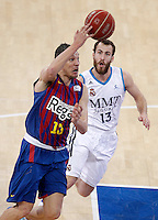 Real Madrid's Sergio Rodriguez (r) and FC Barcelona Regal's Sarunas Jasikevicius during Spanish Basketball King's Cup match.February 07,2013. (ALTERPHOTOS/Acero) /Nortephoto
