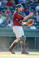Catcher Colton Plaia (8) of the Savannah Sand Gnats in a game against the Greenville Drive on Sunday, June 22, 2014, at Fluor Field at the West End in Greenville, South Carolina. Greenville won, 7-3. (Tom Priddy/Four Seam Images)