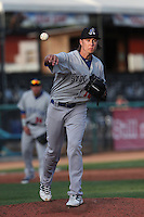 Hunter Adkins #18 of the Stockton Ports pitches against the Visalia Rawhide at Rawhide Ballpark on May 5, 2014 in Visalia California. Visalia defeated Stockton, 8-6. (Larry Goren/Four Seam Images)