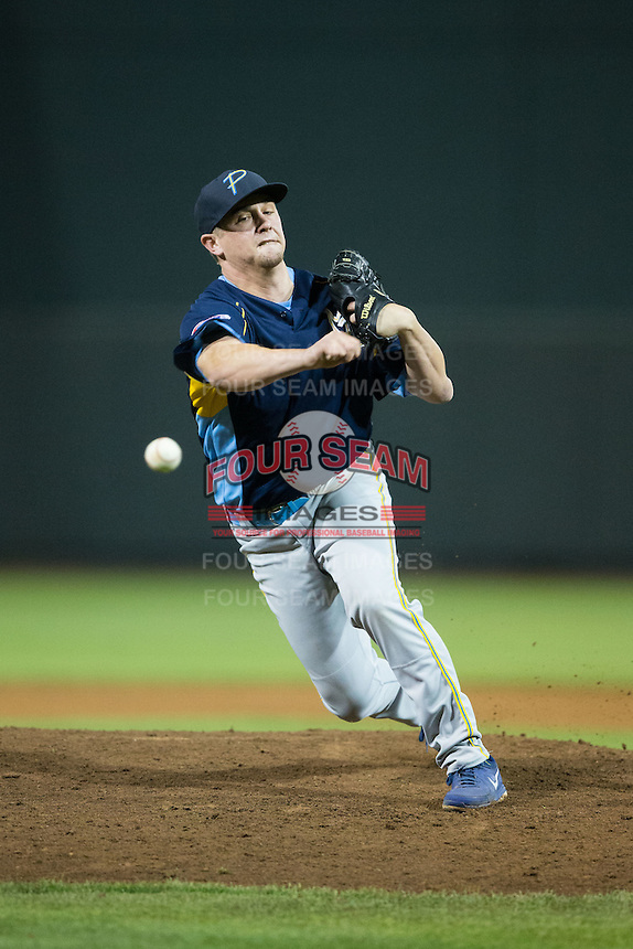 Myrtle Beach Pelicans relief pitcher David Berg (8) in action against the Winston-Salem Dash at BB&T Ballpark on May 2, 2016 in Winston-Salem, North Carolina.  The Pelicans defeated the Dash 3-2 in 11 innings.  (Brian Westerholt/Four Seam Images)