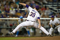 LSU Tiger pitcher Nick Rumbelow (38) delivers a pitch to the plate during Game 4 of the 2013 Men's College World Series against the UCLA Bruins on June 16, 2013 at TD Ameritrade Park in Omaha, Nebraska. UCLA defeated LSU 2-1. (Andrew Woolley/Four Seam Images)