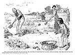 The links being devoted to allotments, Mr and Mrs Bunker Browne practise approach shots, with the idea of filling their basket with potatoes at the same time.