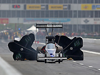 Apr 13, 2019; Baytown, TX, USA; NHRA top fuel driver Jim Maroney during qualifying for the Springnationals at Houston Raceway Park. Mandatory Credit: Mark J. Rebilas-USA TODAY Sports
