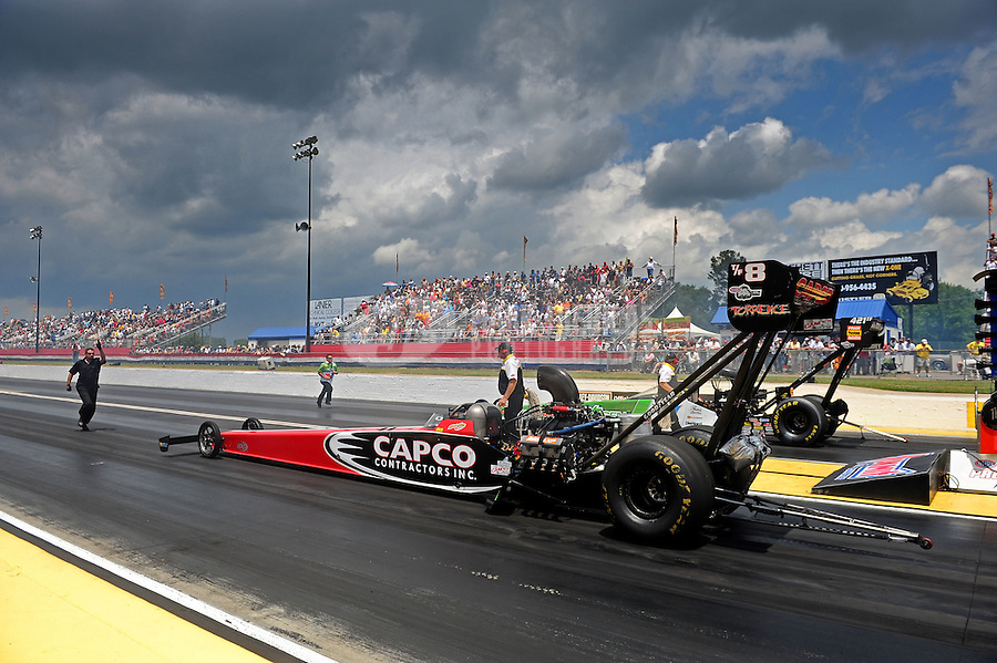 May 14, 2011; Commerce, GA, USA: NHRA top fuel dragster driver Steve Torrence during qualifying for the Southern Nationals at Atlanta Dragway. Mandatory Credit: Mark J. Rebilas-