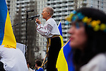 Maria Iskiw speaks to the crowd at the Ukrainian rally at Justin Herman Plaza in San Francisco, California, on Sunday, March 9th, 2014.  Photo/Victoria Sheridan