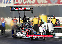 Feb. 14, 2013; Pomona, CA, USA; NHRA top fuel dragster driver Steve Torrence during qualifying for the Winternationals at Auto Club Raceway at Pomona.. Mandatory Credit: Mark J. Rebilas-