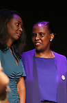 """Immaculee Ilibagiza, Valentine Rugwabiza, Rwanda Ambassador to the UN on stage during """"Miracle in Rwanda"""" honoring International Day of Reflection on the 1994 Genocide against the Tutsi in Rwanda at the Lion Theatre on Theater Row on April 7, 2019 in New York City."""