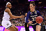 COLUMBUS, OH - APRIL 1: Kathryn Westbeld #33 of the Notre Dame Fighting Irish drives to the basket against Victoria Vivians #35 of the Mississippi State Bulldogs during the championship game of the 2018 NCAA Division I Women's Basketball Final Four at Nationwide Arena in Columbus, Ohio. (Photo by Ben Solomon/NCAA Photos via Getty Images)