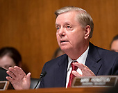 """United States Senator Lindsey Graham (Republican of South  Carolina), Chairman, US Senate Judiciary Committee makes his opening statement prior to US Attorney General William P. Barr giving testimony before the US Senate Committee on the Judiciary on the """"Department of Justice's Investigation of Russian Interference with the 2016 Presidential Election"""" on Capitol Hill in Washington, DC on May 1, 2019.  The hearing will begin to answer questions about how the DOJ handled the conclusions from the Mueller probe.<br /> Credit: Ron Sachs / CNP<br /> (RESTRICTION: NO New York or New Jersey Newspapers or newspapers within a 75 mile radius of New York City)"""