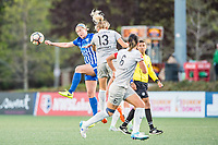 Boston, MA - Sunday May 07, 2017: Natasha Dowie and Abby Dahlkemper during a regular season National Women's Soccer League (NWSL) match between the Boston Breakers and the North Carolina Courage at Jordan Field.