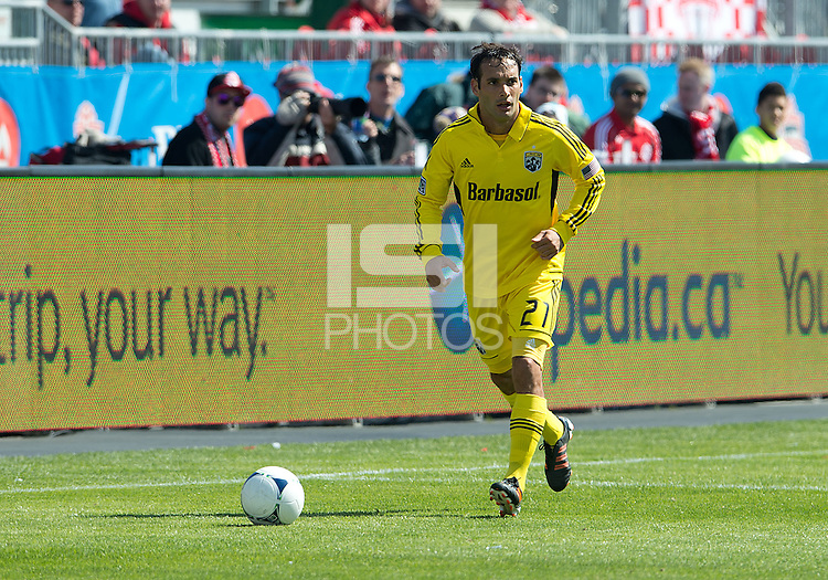 31 March 2011: Columbus Crew defender Sebastian Miranda #21 in action during a game between the Columbus Crew and the Toronto FC at BMO Field in Toronto, Ontario Canada..The Columbus Crew won 1-0.