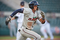 Fort Myers Miracle shortstop Royce Lewis (4) runs to first base during a game against the Lakeland Flying Tigers on August 7, 2018 at Publix Field at Joker Marchant Stadium in Lakeland, Florida.  Fort Myers defeated Lakeland 5-0.  (Mike Janes/Four Seam Images)