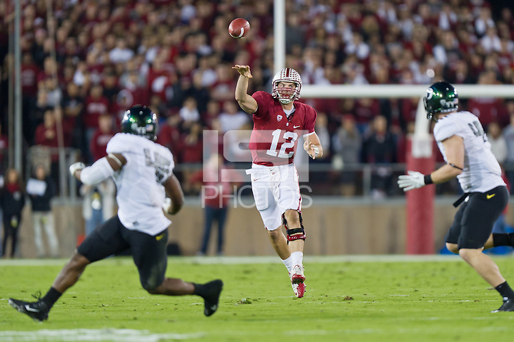 STANFORD, CA - NOVEMBER 12, 2011: Andrew Luck throws a pass as Stanford hosted the University of Oregon at Stanford Stadium.  The Ducks defeated the Cardinal 53-30.